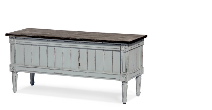 Bourbon Vintage Storage Bench in distressed grey from made.com