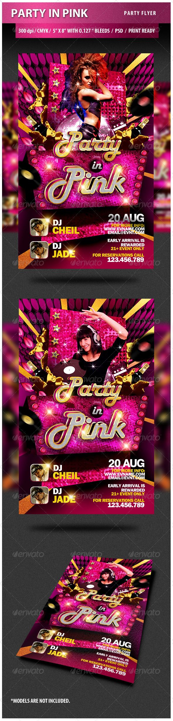 Party in Pink Party Flyer — Photoshop PSD #dance #creative • Available here → https://graphicriver.net/item/party-in-pink-party-flyer/2904808?ref=pxcr