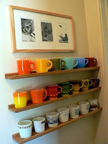 """Shelves at sink for mug assortment.  Coffee for everyone- roaming from kitchen to porch to swing- no two cups alike!  (Shelves to be only 4"""" deep - spaced 5"""" apart so favorite can be found.)"""