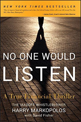 Shared via Kindle. Description: Harry Markopolos and his team of financial sleuths discuss first-hand how they cracked the Madoff Ponzi scheme No One Would Listen is the thrilling story of how the Harry Markopolos, a little-known number cruncher from a Bost...