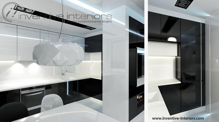 Projekt kuchni Inventive Interiors - biel i czerń w wąskiej kuchni - otwarcie wąskiej kuchni na salon