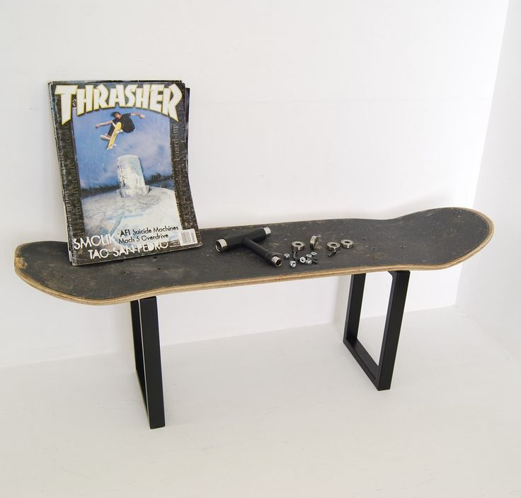 Metal legs for skateboard furniture fully customizable, you can use your  own skateboard deck.