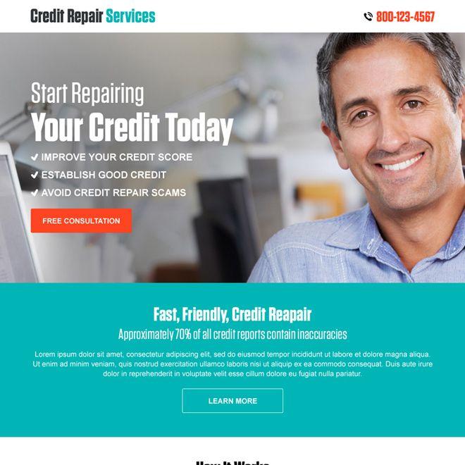 credit repair free consultation call to action landing page design Credit Repair example