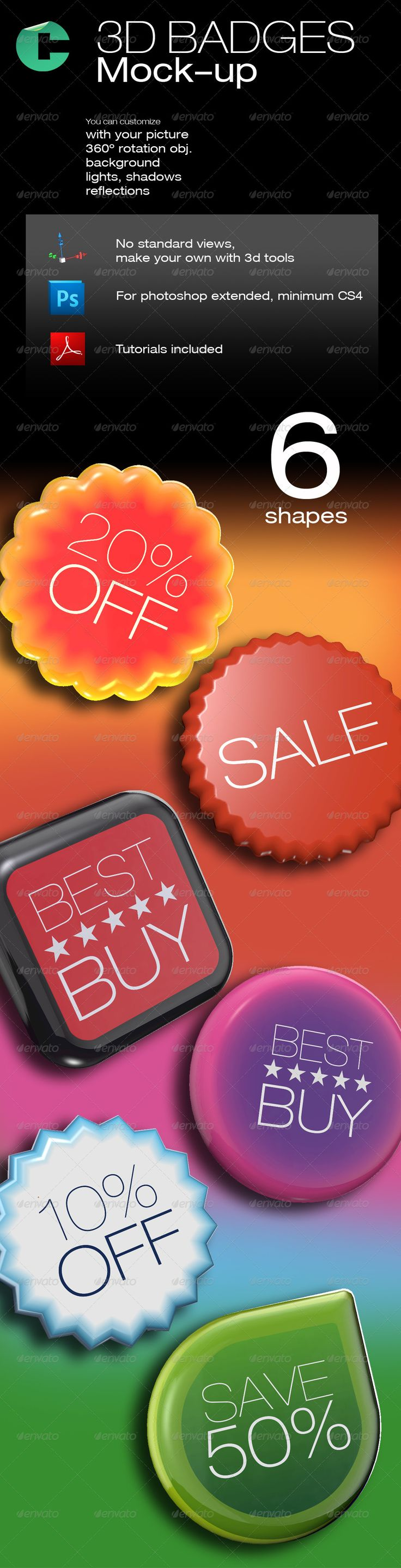 3D Object - Badges and Sale Tags  #GraphicRiver         This product is compatible with Adobe Photoshop CS4 Extended and CS5 Extended   This badges are great for a website, promotion and advertising your product. with the 3d tools allow to customize with unlimited views and angles.   you only need to upload a jpg file at 72dpi with your design, It wraps automatically, then you can rotate, zoom, roll, the way you want.   Change the camera lens settings. You can even add, remove, edit 3D…
