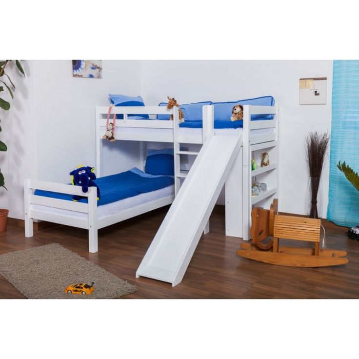 L-Shaped Bunk bed Moritz, solid beech wood, with shelf and slide, white finish, incl. slatted frames - 90 x 200 cm