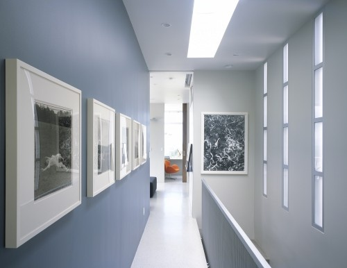 i love the cool blue with the white frames and trim: Wall Colors, Idea, Blue Wall, Frames Photo, Paintings Colors, Paintings Wall, Accent Colors, White Frames, Modern Hall