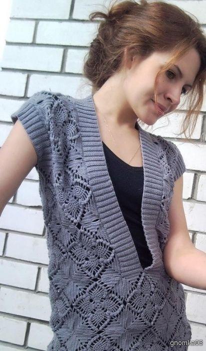 Вязание крючком и спицами/Crochet and knitting: Симпатичный узор крючком - мотив для болеро и жилета