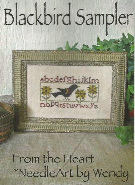 PATTERN ONLY from FROM THE HEART Blackbird Sampler. Primitive Cross Stitch Pattern With Alphabet, Blackbird, Sunflower, Summer.  FABRIC: 30 count Abecedarian linen STITCH COUNT: 89w x 53h; approximate design size, 6 x 3 1/2  GENTLE ART SAMPLER THREADS: Cherry Bark, Picnic Basket, Endive, Mustard Seed, Espresso Bean A conversion to DMC floss is printed in the key.  GENTLE ARTS SAMPLER THREADS available in this ETSY SHOPPE. Needing DMC floss....just let me know, and Ill get it for you.   ♥ ♥ ♥…