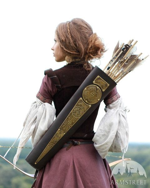 Archery Quiver Leather Bowman Archeress series etched door armstreet, $127.00