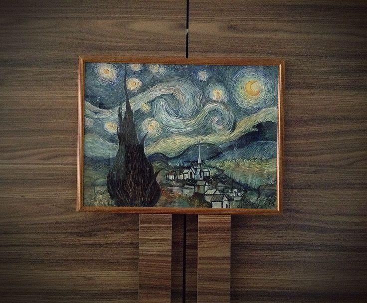 """Копия знаменитой картины Ван Гога """"Звёздная ночь"""" гуашь. Акварельная бумага. Формат 30*40"""