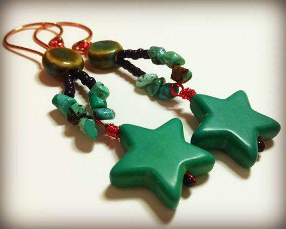 Star earrings stone stars turquoise coloured aqua by ColourMystic