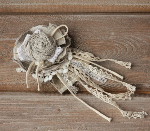 Natural Linen Brooch,Textile beige white gray eco friendly brooch, Fabric brooch flower, Summer brooch, Rose brooch, Women pin brooch, Elegant accent to modern women boho c... #etsy