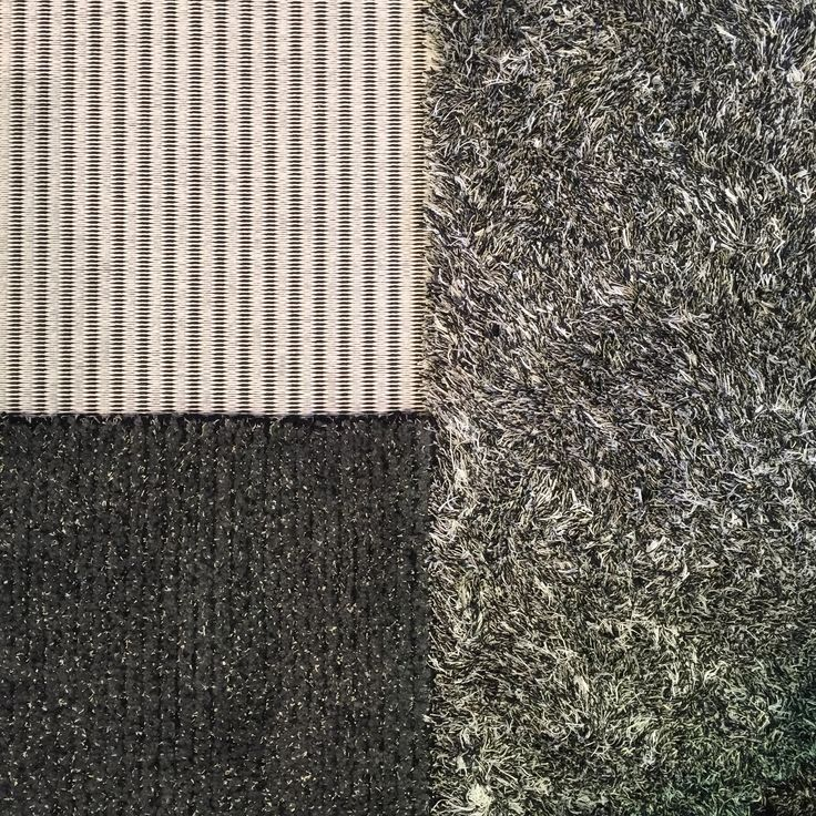 Mix Woodnotes flat paper yarn carpets together with tufted carpets. Railway paper yarn carpet col. stone-black, Wild linen wool tufted carpet col. grey and Path wool linen tufted carpet col. grey.
