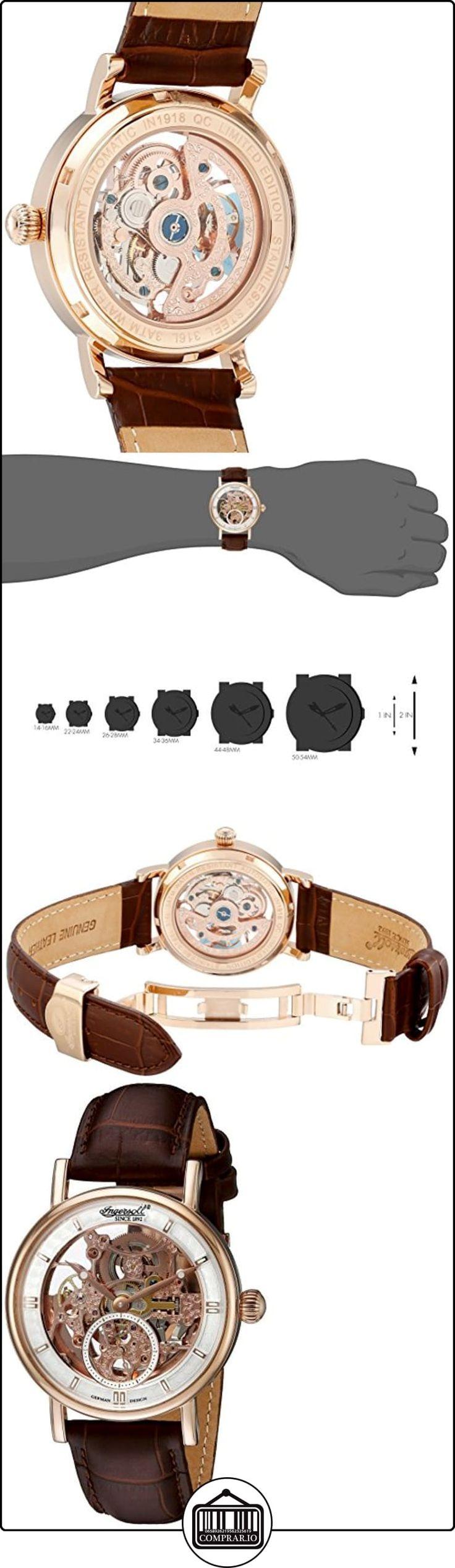 Ingersoll IN1918RSL - Reloj automático, para hombre, con correa de cuero, color marrón  ✿ Relojes para hombre - (Lujo) ✿