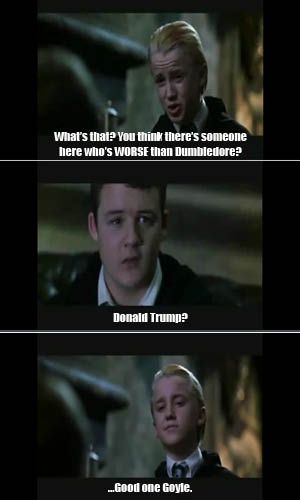 funny Harry Potter meme, Goyle malfoy Donald trump                                                                                                                                                                                 More