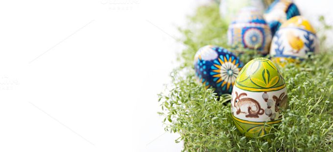 Easter eggs on green cress by Izdebska on @creativemarket