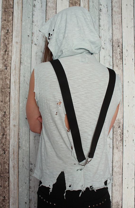 """A handcrafted mens tank top with a huge hood, suspenders and decorative holes. One of a kind. The only one in the world like it. As unique as you!!! Made from BIO cotton.  Chest: 90 - 110 cm (35 - 43"""") Length: 66 cm (26"""")  FREE SHIPPING WORLDWIDE"""