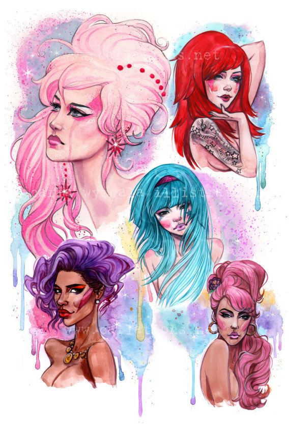 Jem and the Holograms 80's cartoon inspired Watercolor Art