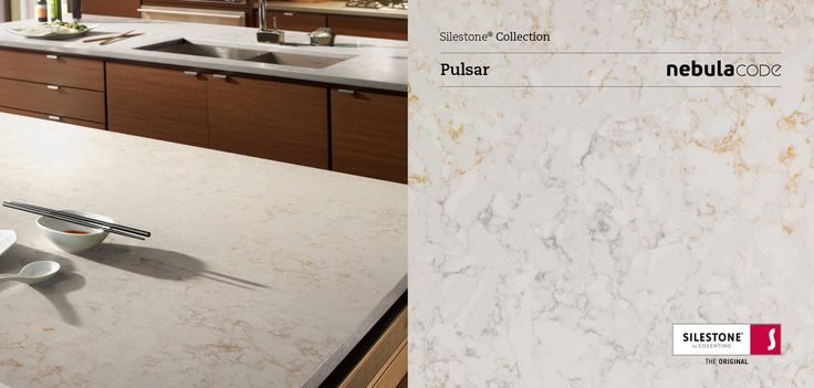 Silestone Pulsar with penny tile to pick up gold and off whit accents