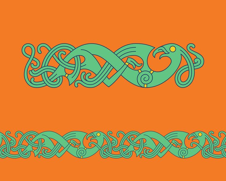 Bird In Mammen Style – Mammen style chain pattern of a bird inspired by the ornaments decorating the Mammen axe, from which the style got its name, found in a magnates grave in Mammen, Denmark.