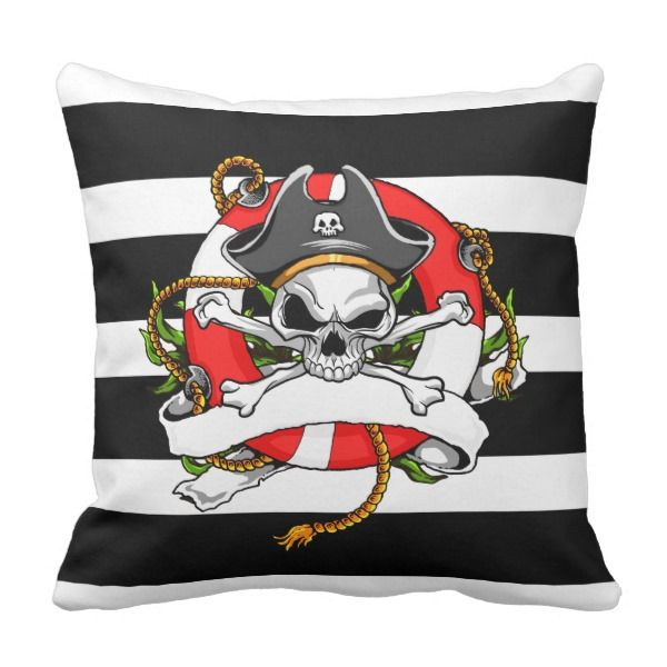 Pirate Skull & Crossbones Throw Pillow -  Fun tattoo-style nautical design features   a pirate skull and crossbones, with tricorn hat,   seaweed, life buoy, rope and... #custom #beach themed #gift #mojo  throwpillow design by #By_the_Sea - #mojo  #throwpillow #nauticalhomedecor #skullandcrossbones #pirateskull #jollyroger #beachhousedecor #nauticaldesigns #tattooimages #pirateimages #pirateshiplifebuoy #nauticallifesaver #pirate #buccaneer #skull #crossbones #buoy #preserver #ring #seaweed…