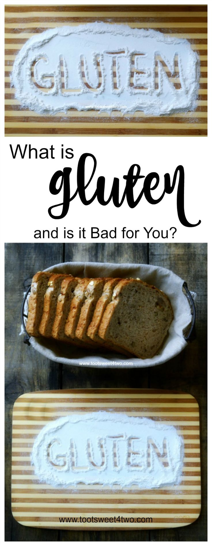 What is gluten and is it bad for you? A protein found in rye, barley, grains and wheat, many people are unaware that they have a gluten intolerance or sensitivity until symptoms appear. Is a gluten free diet beneficial? Eliminating gluten from your diet might sound easy but today's pre-packaged foods and restaurant meals present a challenge. | www.tootsweet4two.com