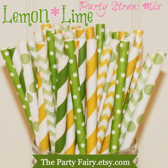 Paper Straws, MADE IN USA, Yellow and Green Paper Straws $4.95 for 25 straws. SES