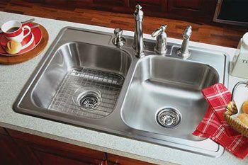 Overmount double basin sink.