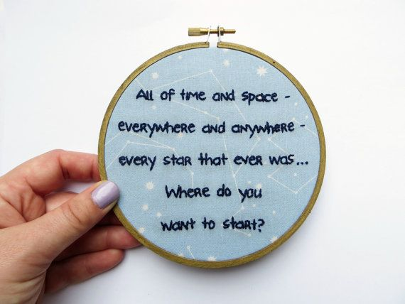 Doctor Who Hoop Art : 11th Doctor Hand Embroidered Hoop Art - All of Time and Space Amy Pond Stars Sky TV Quote Home Decor