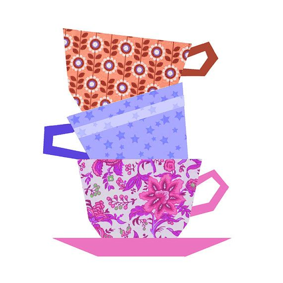 Cups Stacking paper pieced quilt block pattern PDF by BubbleStitch, $2.90