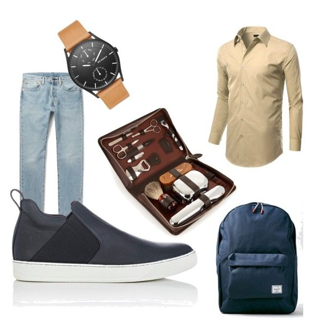 """blue boy"" by dreaaaman on Polyvore featuring Levi's, Lanvin, Skagen, F. Hammann, Topman, men's fashion and menswear"