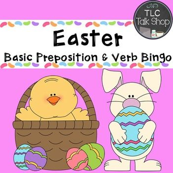 A bingo game with a Spring and Easter theme.  It targets basic verbs and prepositions to assist students in identifying or formulating basic sentence structures. Six different Bingo boards are provided with the calling cards. ***************************************************************************** Check out my blog TLC Talk Shop for tips, tricks, and to talk shop about all things Speech and Language related. *** You can also catch me on Instagram and Facebook and get all the latest on…