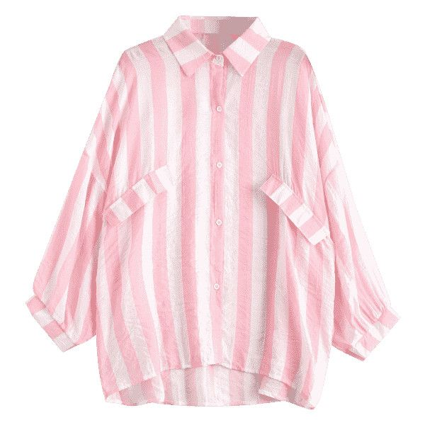 Oversized Button Up Striped Blouse Light Pink (3.755 HUF) ❤ liked on Polyvore featuring tops, blouses, light pink top, button down top, pink blouse, pink tops and pink striped top