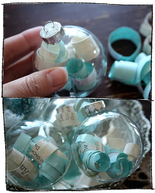 Wedding Invitation Ornament... Cut up wedding invite or vows and fill an empty glass ornament with it for your special first Christmas together ! :)