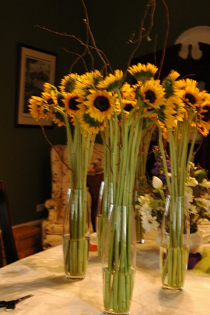 When i imagine sunflower centerpieces them tall