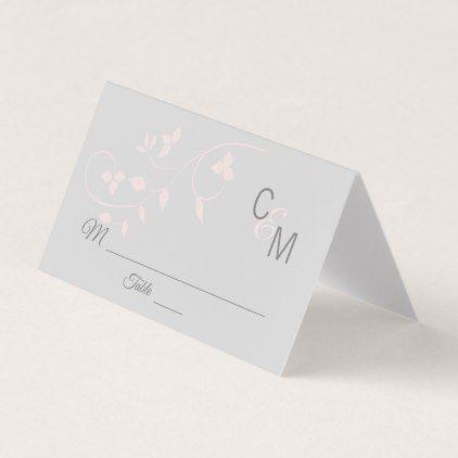 Custom Elegant Monogram Blush Pink Grey Wedding Place Card - wedding cyo special idea weddings