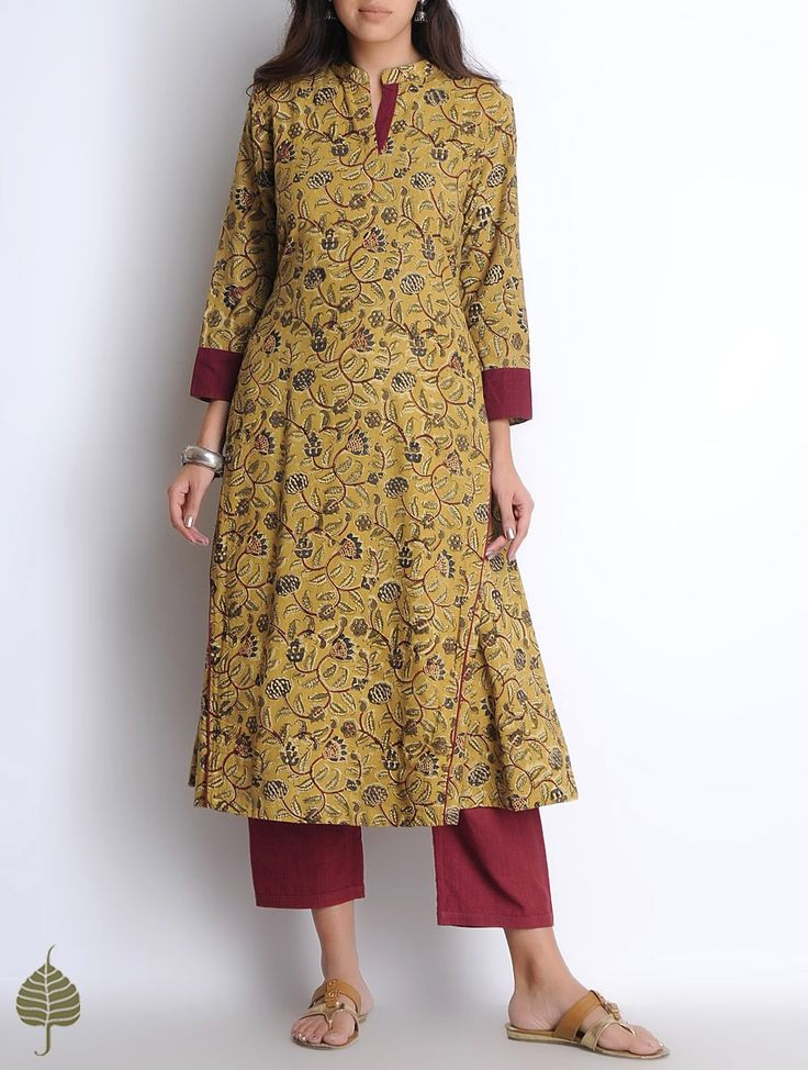 Buy Madder Yellow Maroon Olive Hand Woven Block Printed Kalamkari Cotton Kurta by Jaypore Women Kurtas Online at Jaypore.com
