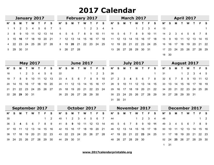 Download 2017 Calendar Printable and Monthly 2017 Calendar with federal holidays and week number as MS Word, PDF and JPG in US letter paper format.
