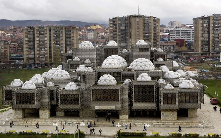 The National Library in Pristina, Kosovo. Designed by Croatian architect Andrija Mutnjakovic and opened in 1982.