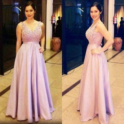 Elegant lavender satin A-line beading long prom dress V-neck sexy dress