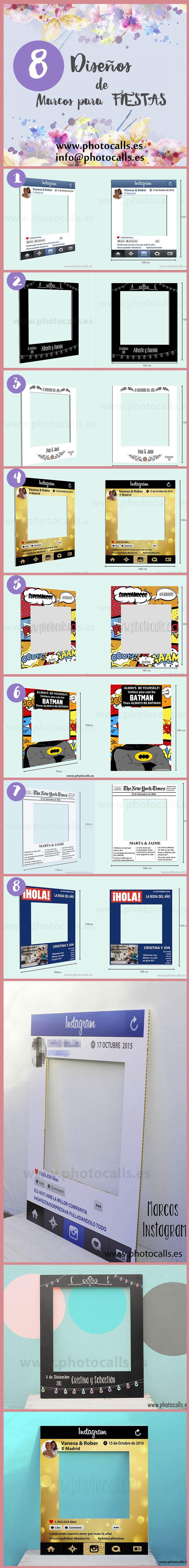8 Diseños marco polaroid personalizables para tu fiestas .Photocal para boda. Elige tu diseño para #photocall, #photobooth, #Boda, #Cumpleaños, #Despedidas, etc.. info@photocalls.es www.photocalls.es
