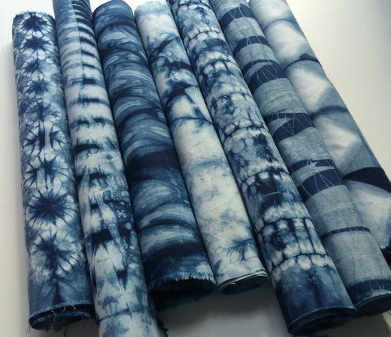 Indigo dyed Shibori Fabric bundle by CapeCodShibori on Etsy