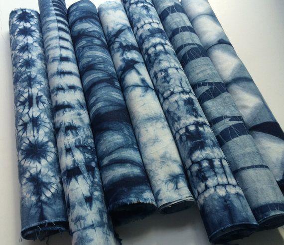 Indigo dyed Shibori Fabric bundle by CapeCodShibori on Etsy