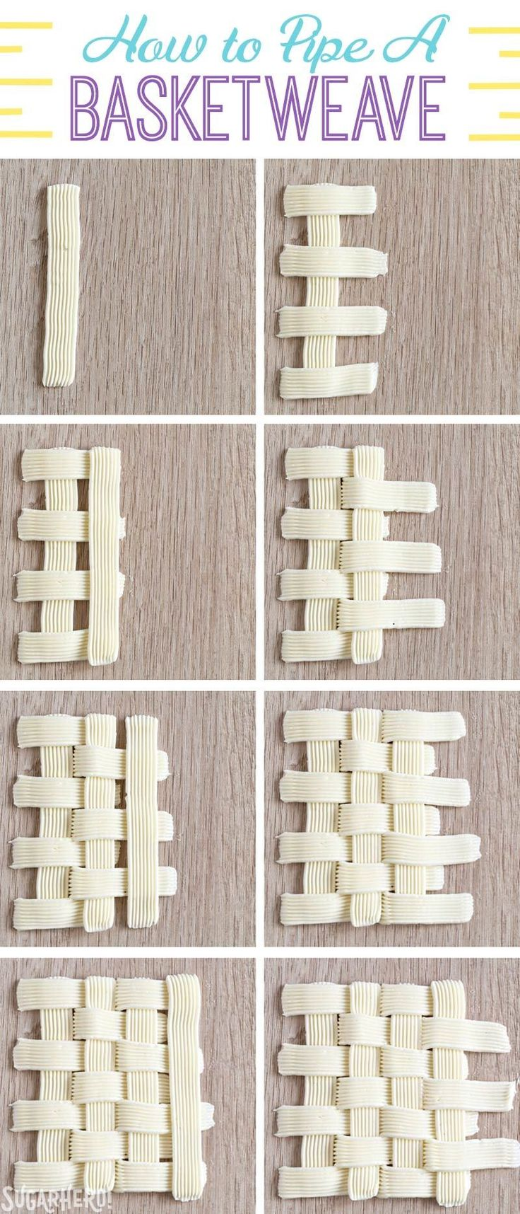 How to Pipe A Basketweave Pattern with Buttercream   From SugarHero.com