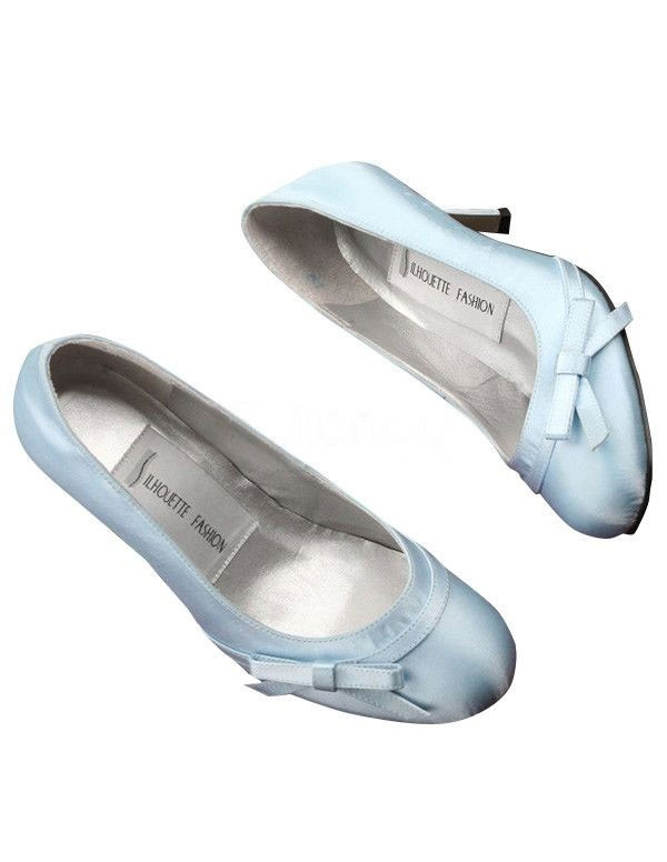 Blue Satin Bowknot Wedding Pumps