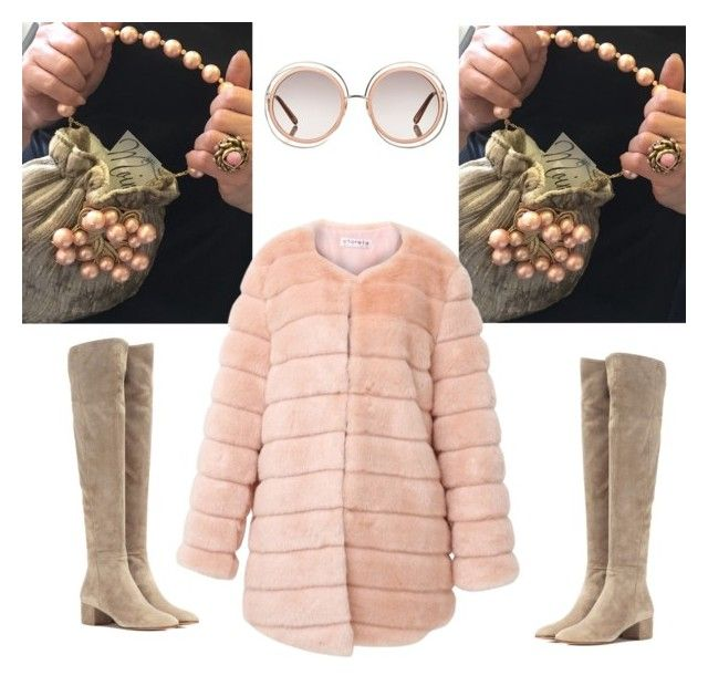 Dusty pink faux fur by stefania-fornoni on Polyvore featuring polyvore, fashion, style, storets, Gianvito Rossi, Chloé and clothing