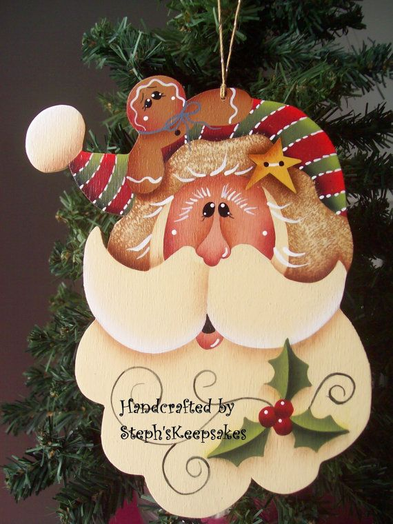 Wooden Hand Painted Santa And Gingerbread Ornament