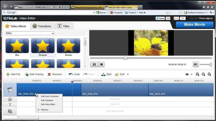 Editor de video gratis y en linea, Pagina web para crear editar y hacer ...