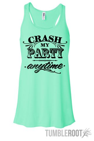 "Adorable Luke Bryan inspired country music racerback tank top ""crash my party anytime"" the perfect summer country concert tank top in mint!"
