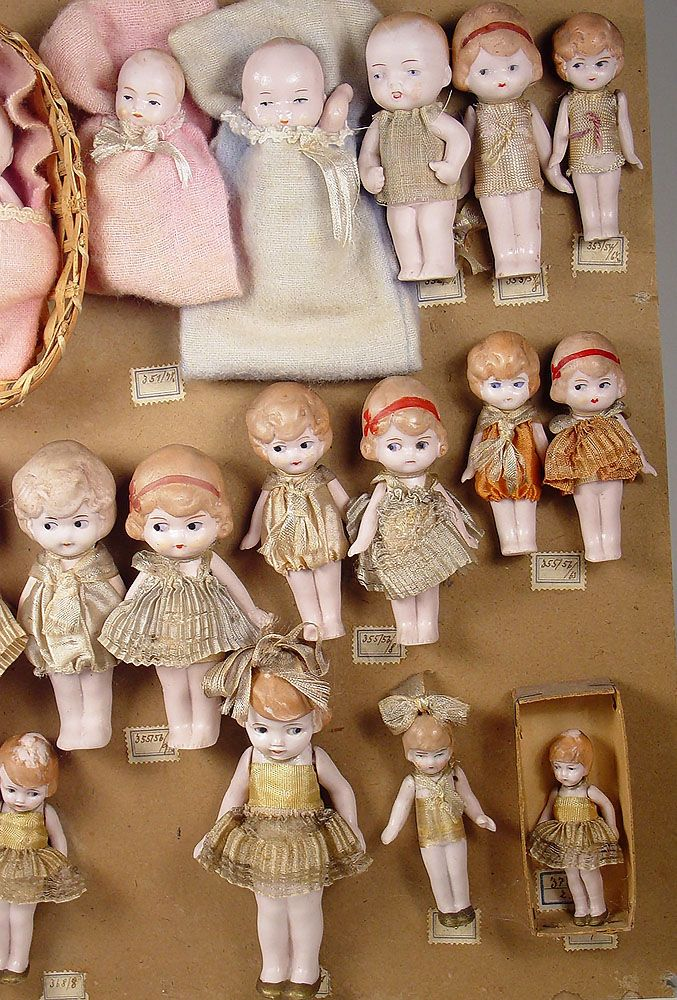 Thanks to a Theriault's special auction in early 2001, we have a great record of the factory sample cards for small German all-bisque dolls from the Hertwig factory from the 1890s to the 1930s. For...
